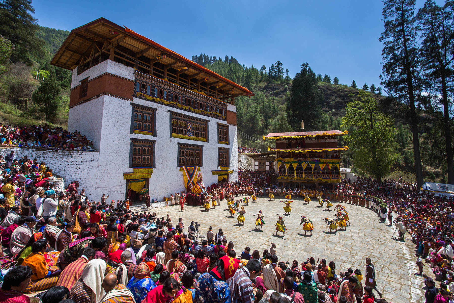 The Tsechu (festival) in Paro (Bhutan), with dances featuring tiger mask.